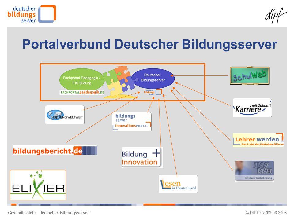 Geschäftsstelle Deutscher Bildungsserver© DIPF 02./03.06.2008 Portalverbund Deutscher Bildungsserver