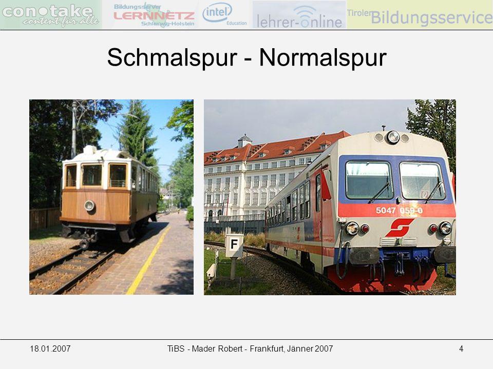 18.01.2007TiBS - Mader Robert - Frankfurt, Jänner 20074 Schmalspur - Normalspur