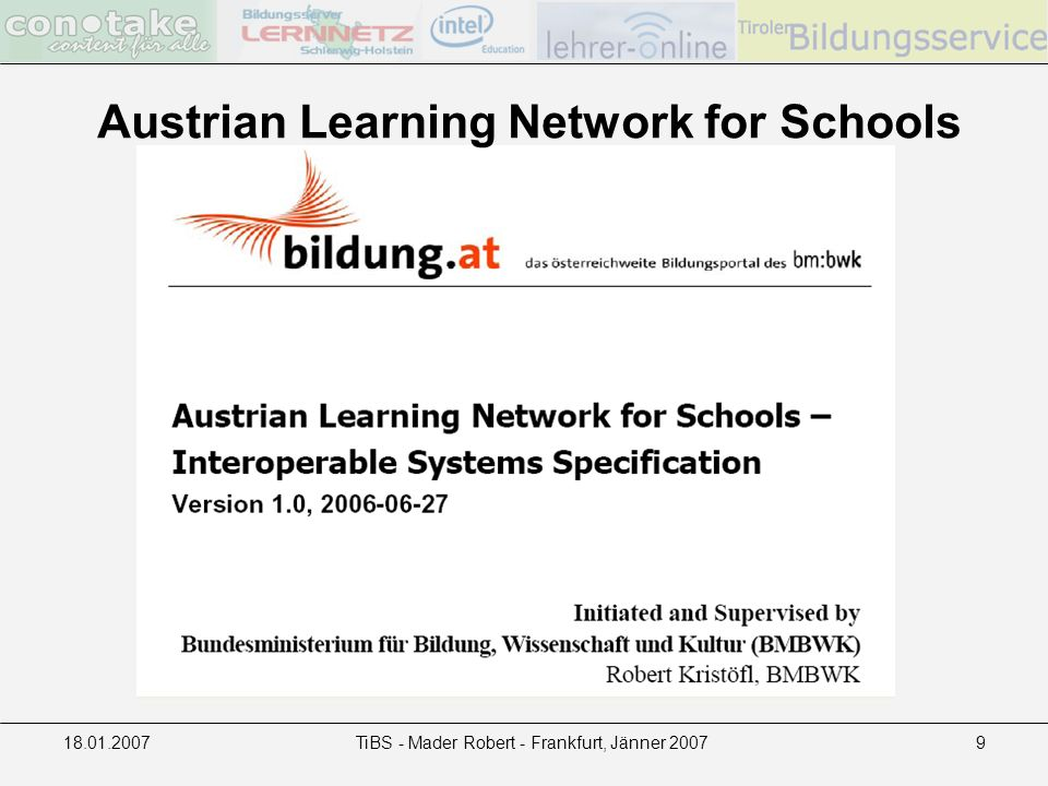 18.01.2007TiBS - Mader Robert - Frankfurt, Jänner 20079 Austrian Learning Network for Schools