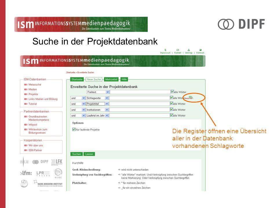 Die Register öffnen eine Übersicht aller in der Datenbank vorhandenen Schlagworte