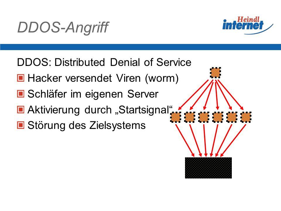 DDOS-Angriff DDOS: Distributed Denial of Service Hacker versendet Viren (worm) Schläfer im eigenen Server Aktivierung durch Startsignal Störung des Zielsystems ZIEL
