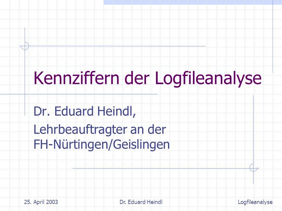 25. April 2003Dr. Eduard Heindl Kennziffern der Logfileanalyse Dr. Eduard Heindl, Lehrbeauftragter an der FH-Nürtingen/Geislingen Logfileanalyse