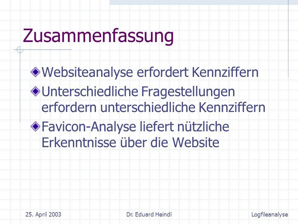 25. April 2003Dr. Eduard Heindl Zusammenfassung Websiteanalyse erfordert Kennziffern Unterschiedliche Fragestellungen erfordern unterschiedliche Kennz