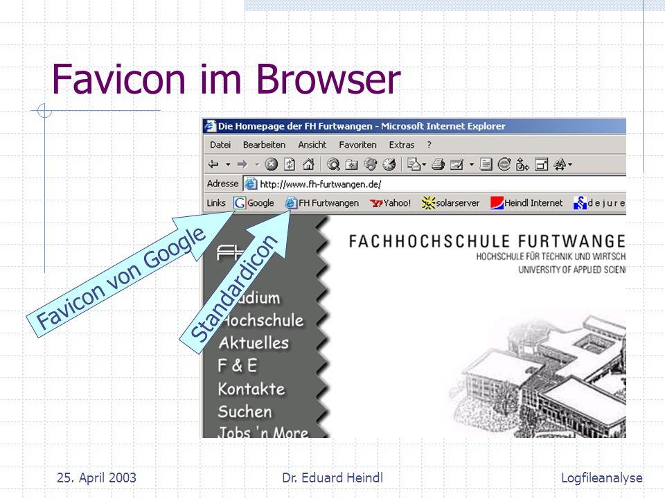 25. April 2003Dr. Eduard Heindl Favicon im Browser Favicon von Google Standardicon Logfileanalyse