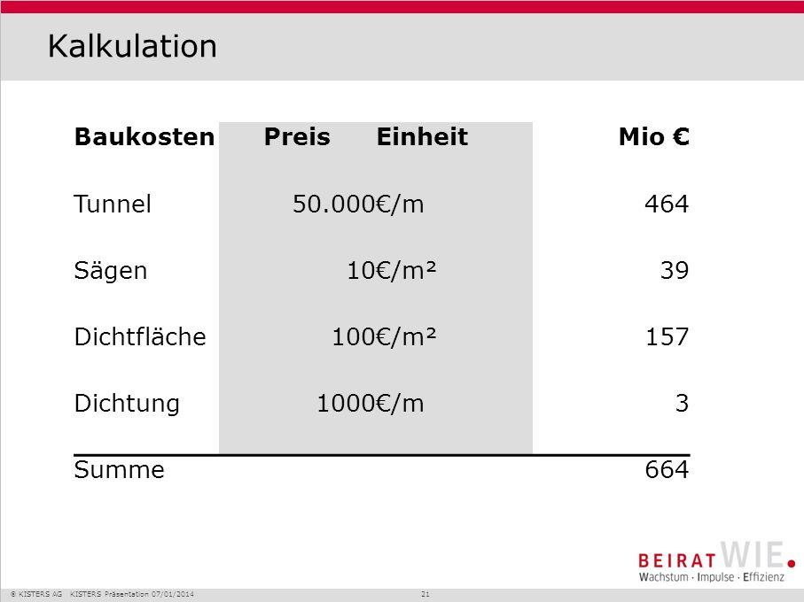 KISTERS AG KISTERS Präsentation 07/01/2014 21 Kalkulation BaukostenPreisEinheitMio Tunnel50.000/m464 Sägen10/m²39 Dichtfläche100/m²157 Dichtung1000/m3