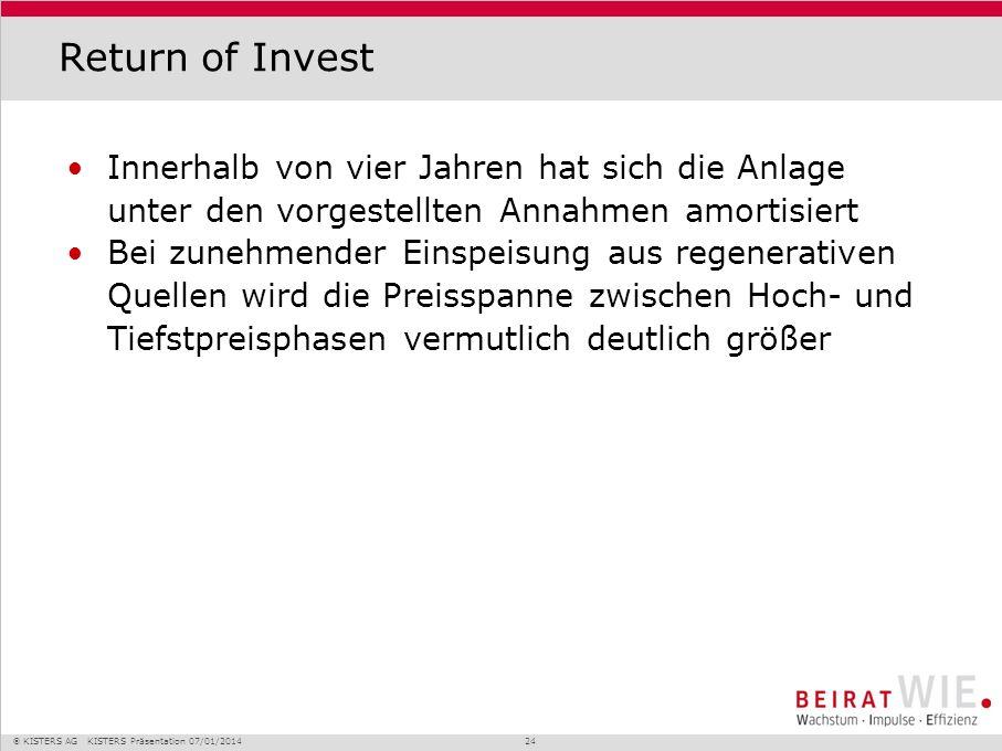 KISTERS AG KISTERS Präsentation 07/01/2014 24 Return of Invest Innerhalb von vier Jahren hat sich die Anlage unter den vorgestellten Annahmen amortisi