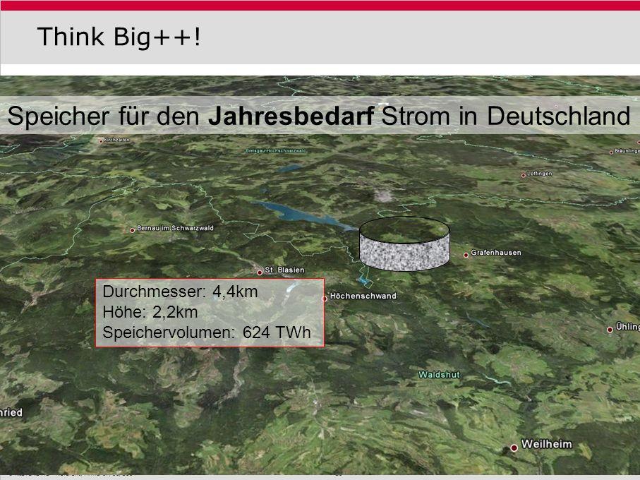 KISTERS AG Referent, Firma 07/01/2014 26 Think Big++! Speicher für den Jahresbedarf Strom in Deutschland Durchmesser: 4,4km Höhe: 2,2km Speichervolume
