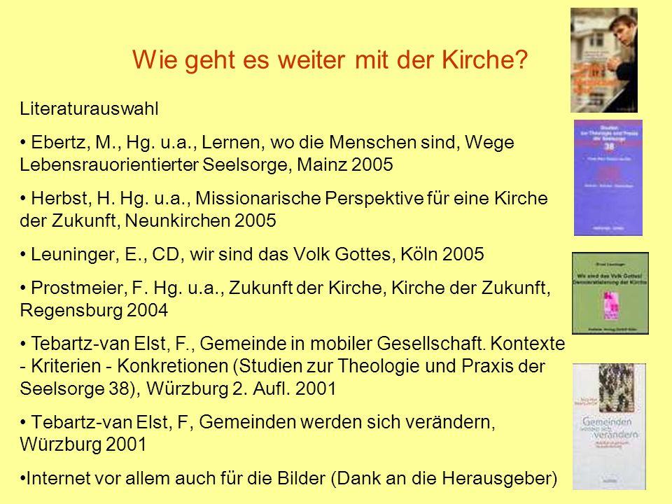 34 Wie geht es weiter mit der Kirche? Literaturauswahl Ebertz, M., Hg. u.a., Lernen, wo die Menschen sind, Wege Lebensrauorientierter Seelsorge, Mainz