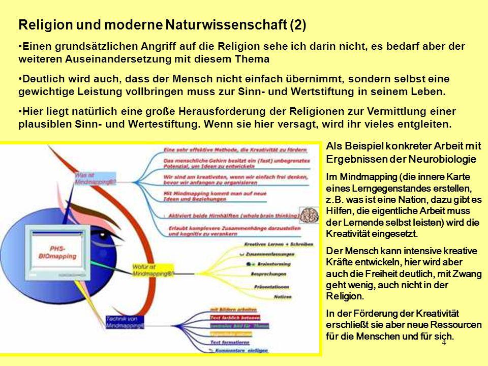 4 Religion und moderne Naturwissenschaft (2) Einen grundsätzlichen Angriff auf die Religion sehe ich darin nicht, es bedarf aber der weiteren Auseinan
