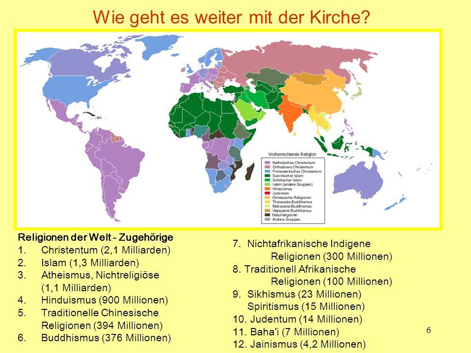 6 Wie geht es weiter mit der Kirche? Religionen der Welt - Zugehörige 1.Christentum (2,1 Milliarden) 2.Islam (1,3 Milliarden) 3.Atheismus, Nichtreligi