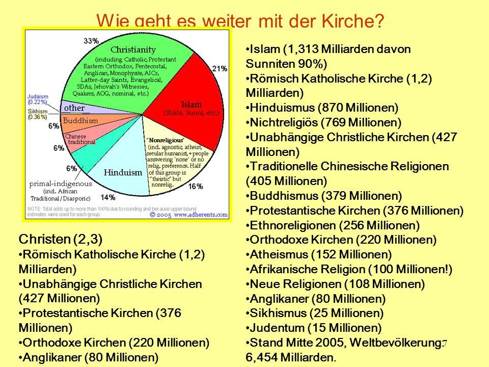 7 Wie geht es weiter mit der Kirche? Islam (1,313 Milliarden davon Sunniten 90%) Römisch Katholische Kirche (1,2) Milliarden) Hinduismus (870 Millione