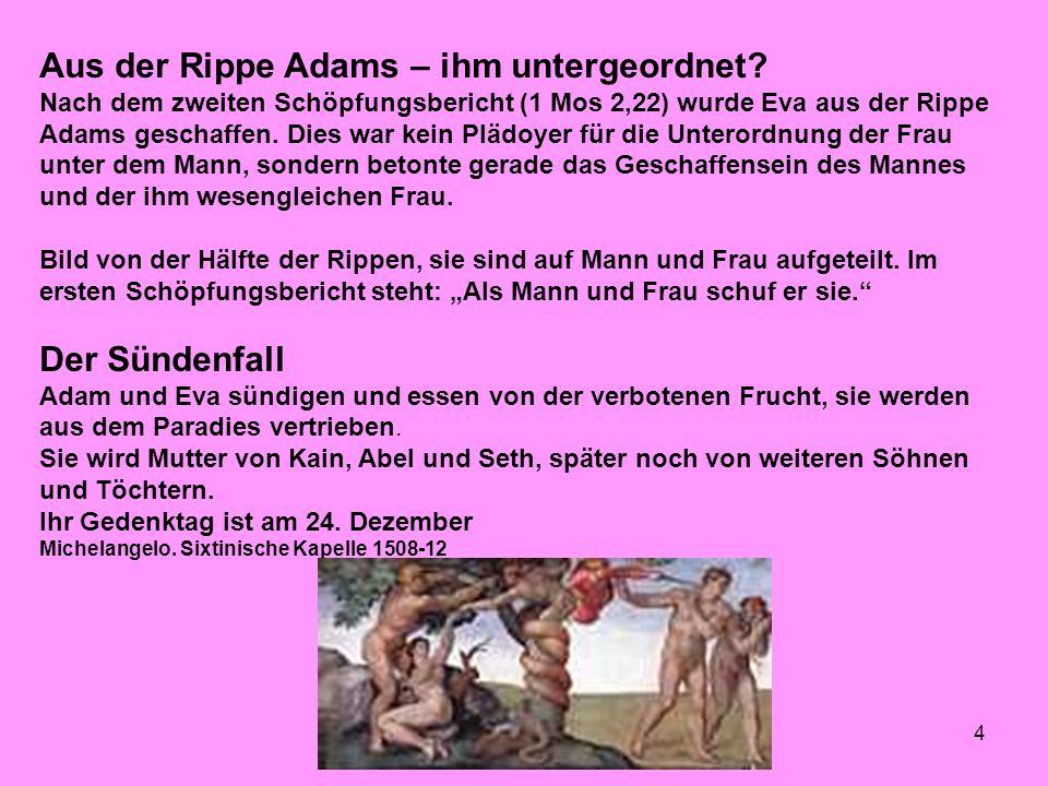 4 Aus der Rippe Adams – ihm untergeordnet.