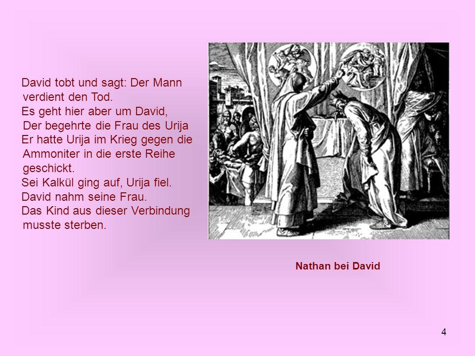 4 David tobt und sagt: Der Mann verdient den Tod. Es geht hier aber um David, Der begehrte die Frau des Urija Er hatte Urija im Krieg gegen die Ammoni