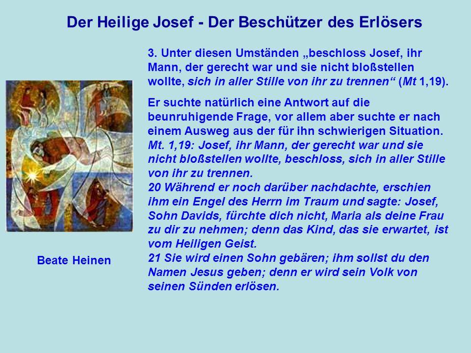 Der Heilige Josef - Der Beschützer des Erlösers 22 Dies alles ist geschehen, damit sich erfüllte, was der Herr durch den Propheten gesagt hat: 23 Seht, die Jungfrau wird ein Kind empfangen, einen Sohn wird sie gebären, und man wird ihm den Namen Immanuel geben, / das heißt übersetzt: Gott ist mit uns.