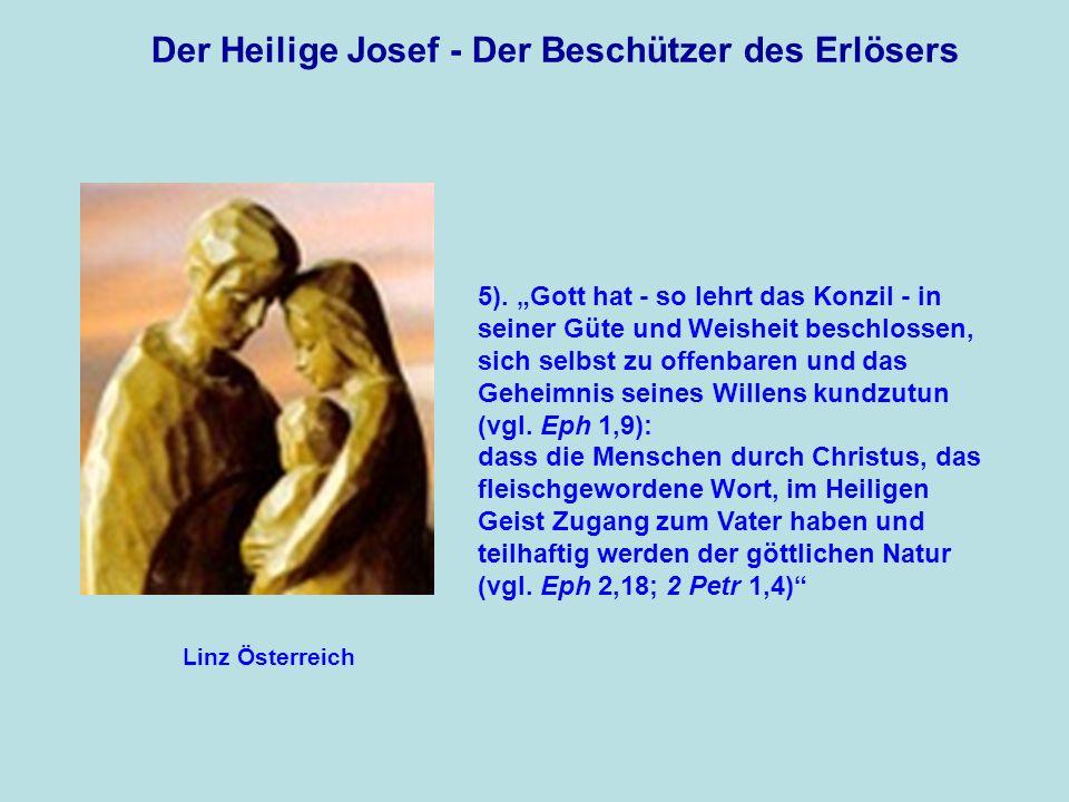 Der Heilige Josef - Der Beschützer des Erlösers Der erste Hüter dieses göttlichen Geheimnisses ist Josef, zusammen mit Maria.