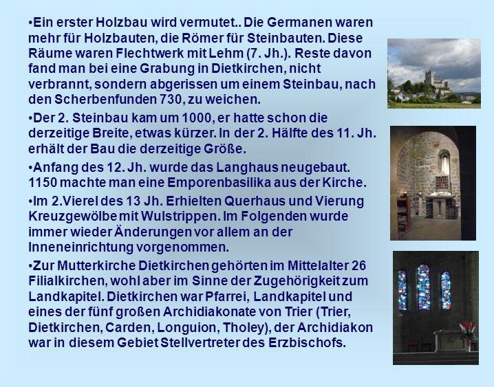 21 Ein erster Holzbau wird vermutet.. Die Germanen waren mehr für Holzbauten, die Römer für Steinbauten. Diese Räume waren Flechtwerk mit Lehm (7. Jh.