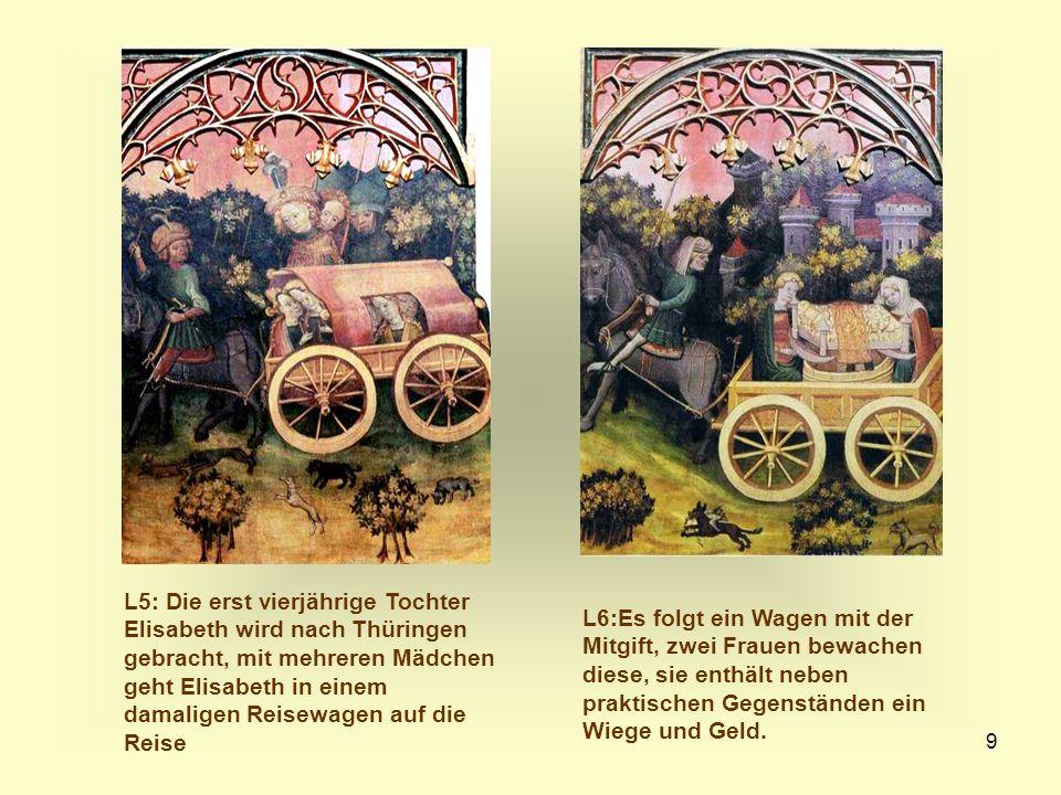 9 L5: Die erst vierjährige Tochter Elisabeth wird nach Thüringen gebracht, mit mehreren Mädchen geht Elisabeth in einem damaligen Reisewagen auf die R