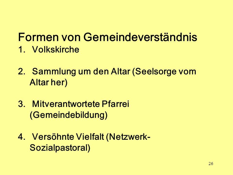 26 Formen von Gemeindeverständnis 1. Volkskirche 2. Sammlung um den Altar (Seelsorge vom Altar her) 3. Mitverantwortete Pfarrei (Gemeindebildung) 4. V
