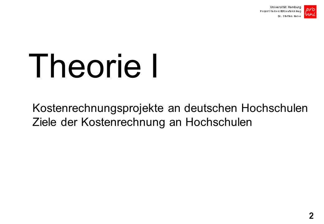 2 Theorie I Kostenrechnungsprojekte an deutschen Hochschulen Ziele der Kostenrechnung an Hochschulen