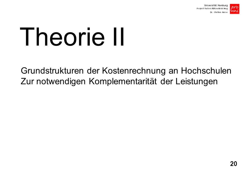 20 Theorie II Grundstrukturen der Kostenrechnung an Hochschulen Zur notwendigen Komplementarität der Leistungen