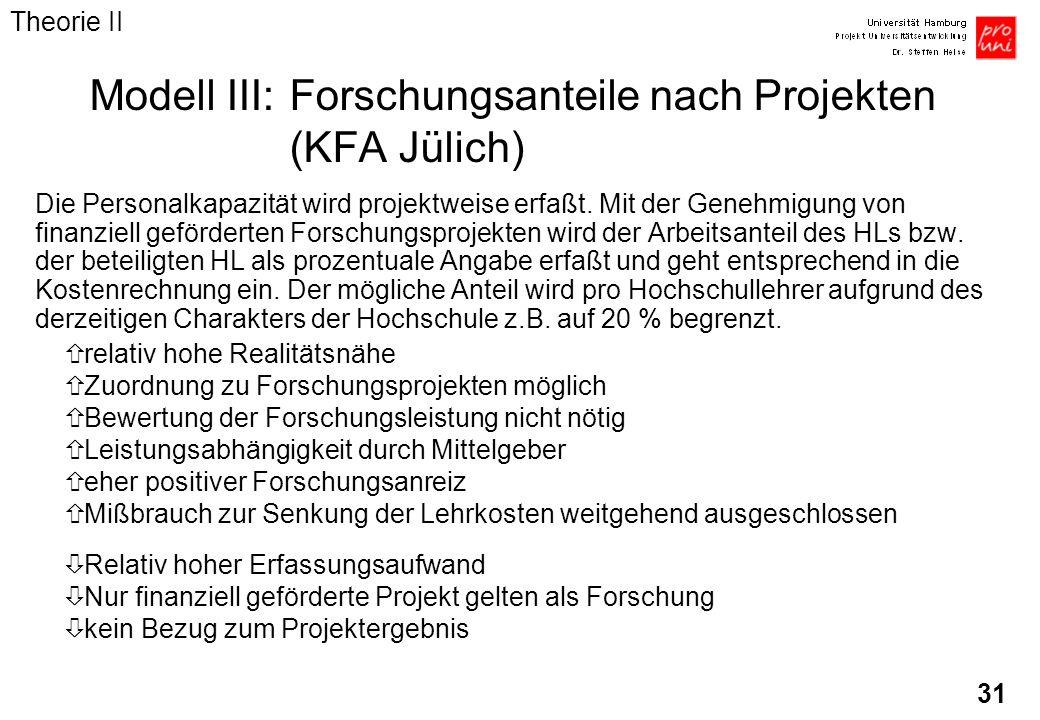 31 Modell III:Forschungsanteile nach Projekten (KFA Jülich) Die Personalkapazität wird projektweise erfaßt. Mit der Genehmigung von finanziell geförde