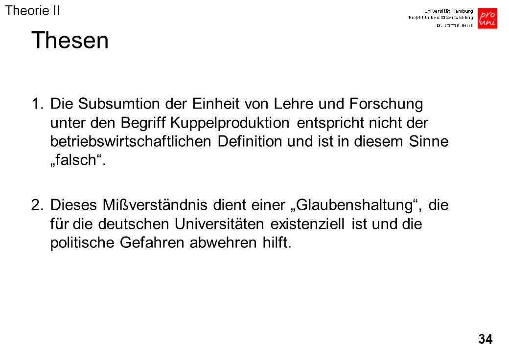 34 Thesen 1.Die Subsumtion der Einheit von Lehre und Forschung unter den Begriff Kuppelproduktion entspricht nicht der betriebswirtschaftlichen Defini