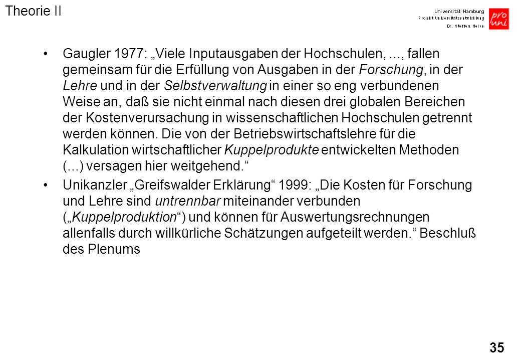 35 Gaugler 1977: Viele Inputausgaben der Hochschulen,..., fallen gemeinsam für die Erfüllung von Ausgaben in der Forschung, in der Lehre und in der Se