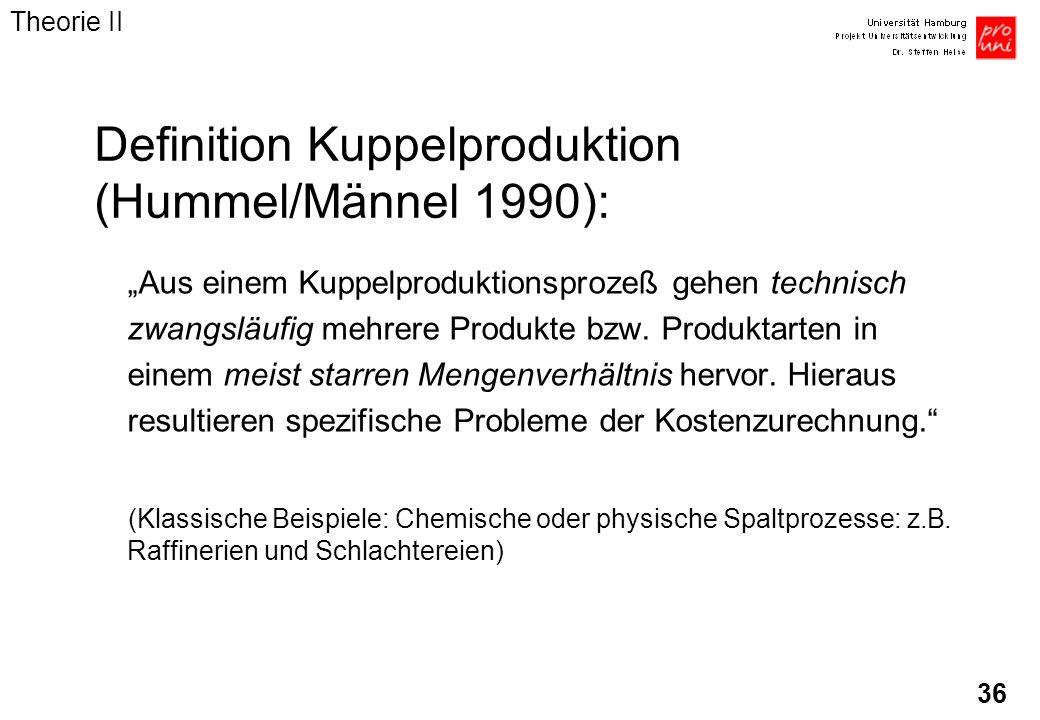 36 Aus einem Kuppelproduktionsprozeß gehen technisch zwangsläufig mehrere Produkte bzw. Produktarten in einem meist starren Mengenverhältnis hervor. H