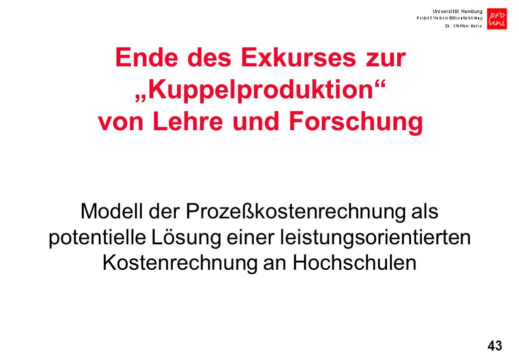 43 Ende des Exkurses zur Kuppelproduktion von Lehre und Forschung Modell der Prozeßkostenrechnung als potentielle Lösung einer leistungsorientierten K