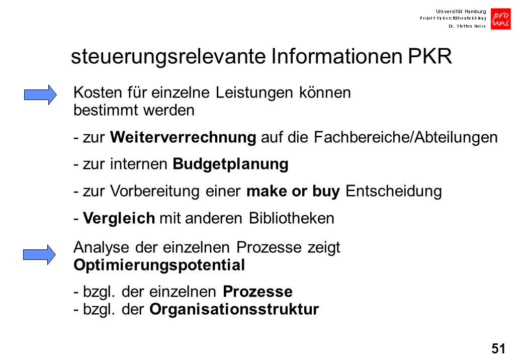 51 steuerungsrelevante Informationen PKR Kosten für einzelne Leistungen können bestimmt werden - zur Weiterverrechnung auf die Fachbereiche/Abteilunge