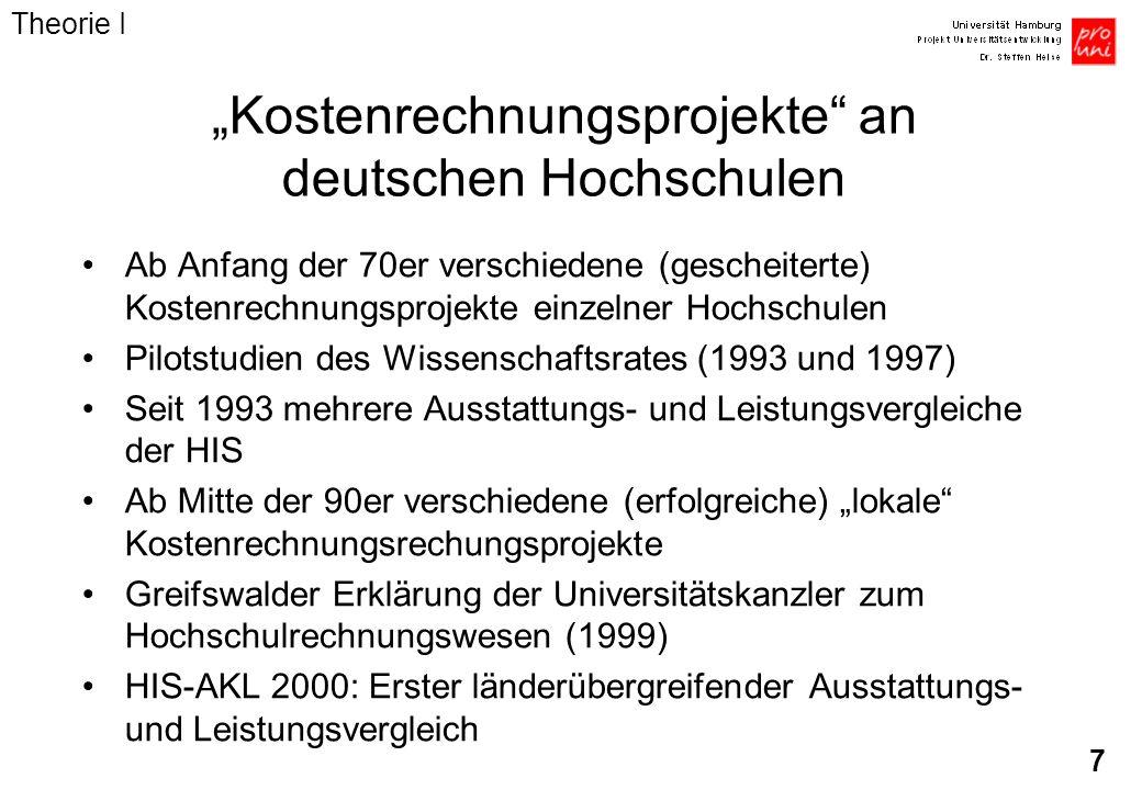 7 Kostenrechnungsprojekte an deutschen Hochschulen Ab Anfang der 70er verschiedene (gescheiterte) Kostenrechnungsprojekte einzelner Hochschulen Pilots