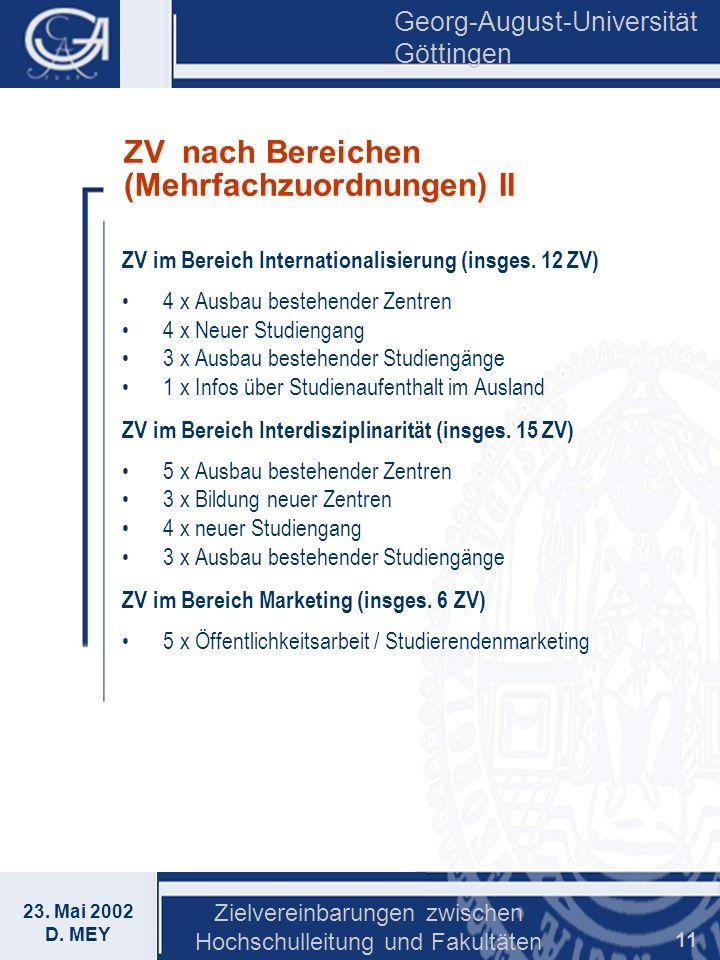 Georg-August-Universität Göttingen 23. Mai 2002 D. MEY Zielvereinbarungen zwischen Hochschulleitung und Fakultäten 11 ZV nach Bereichen (Mehrfachzuord