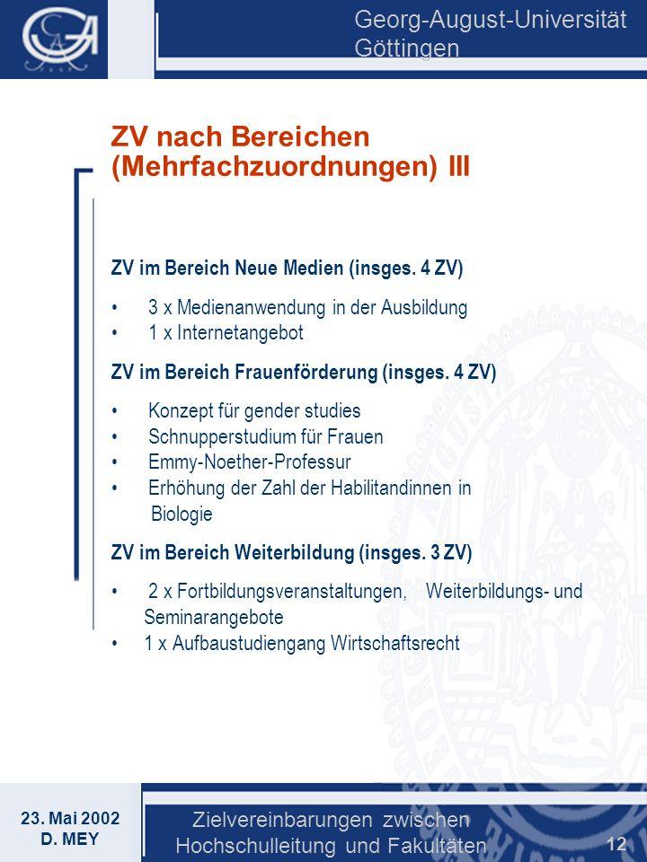 Georg-August-Universität Göttingen 23. Mai 2002 D. MEY Zielvereinbarungen zwischen Hochschulleitung und Fakultäten 12 ZV nach Bereichen (Mehrfachzuord