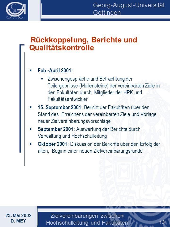 Georg-August-Universität Göttingen 23. Mai 2002 D. MEY Zielvereinbarungen zwischen Hochschulleitung und Fakultäten 13 Rückkoppelung, Berichte und Qual