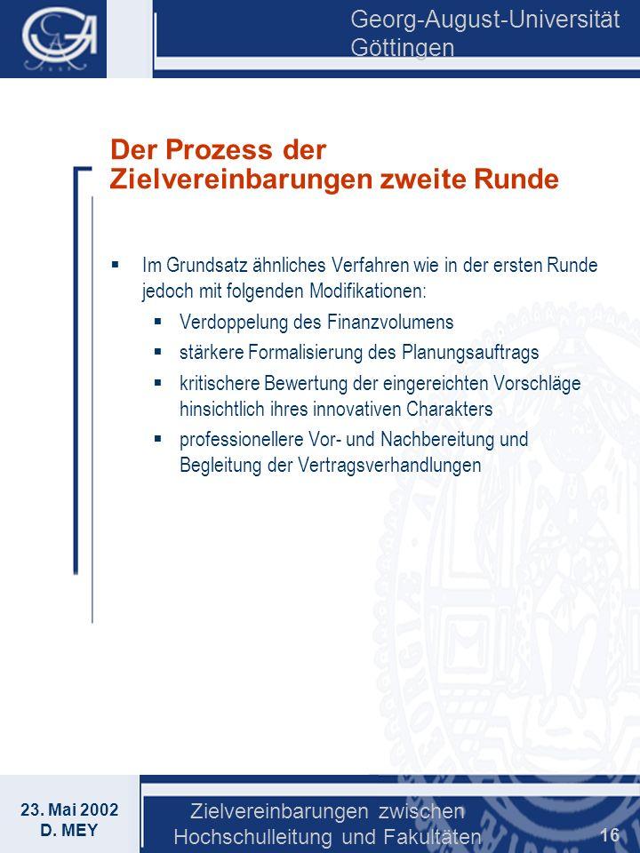 Georg-August-Universität Göttingen 23. Mai 2002 D. MEY Zielvereinbarungen zwischen Hochschulleitung und Fakultäten 16 Der Prozess der Zielvereinbarung
