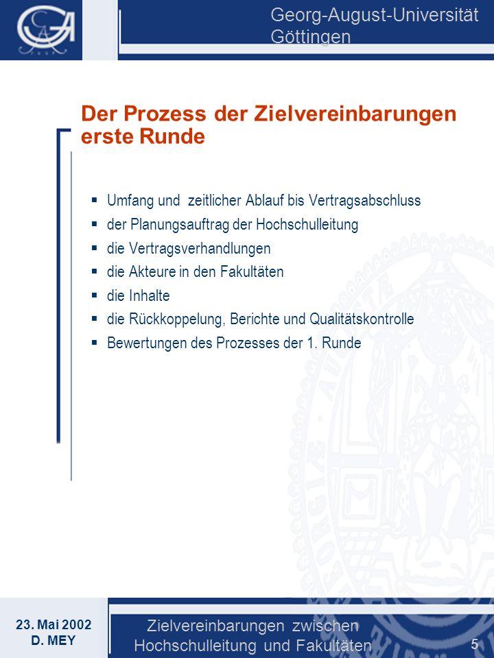 Georg-August-Universität Göttingen 23. Mai 2002 D. MEY Zielvereinbarungen zwischen Hochschulleitung und Fakultäten 5 Der Prozess der Zielvereinbarunge
