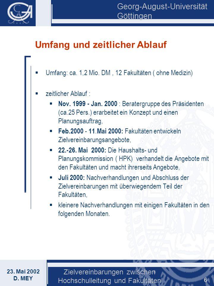 Georg-August-Universität Göttingen 23. Mai 2002 D. MEY Zielvereinbarungen zwischen Hochschulleitung und Fakultäten 6 Umfang und zeitlicher Ablauf Umfa