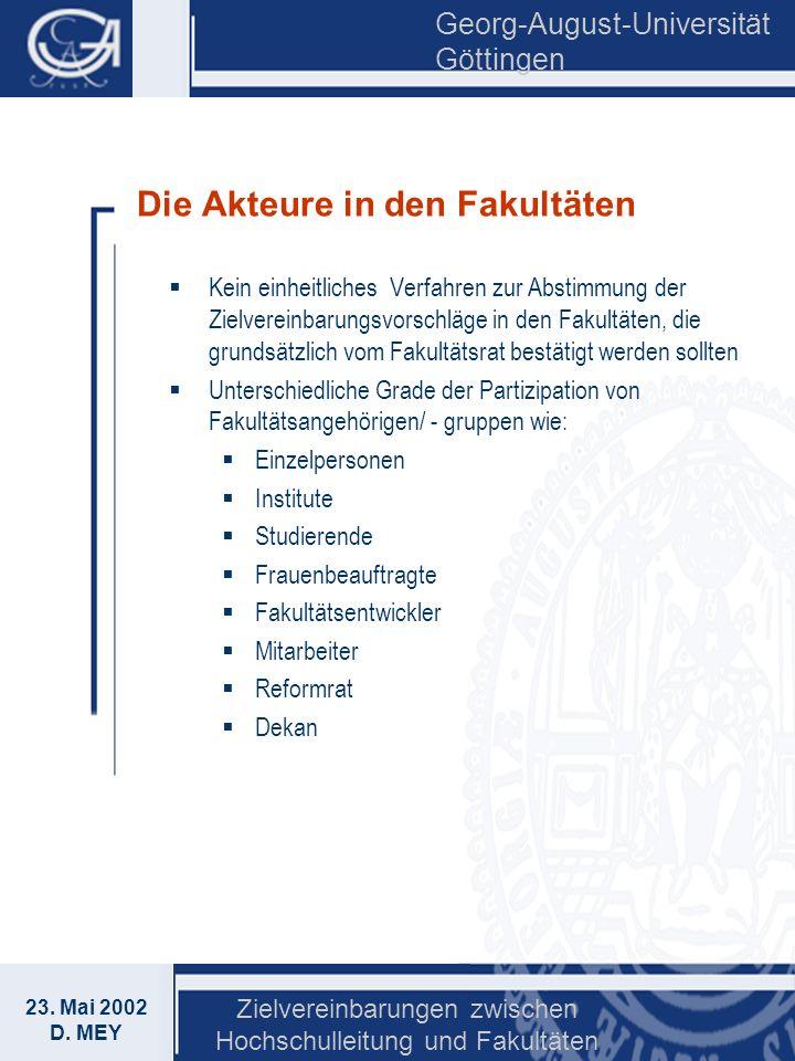 Georg-August-Universität Göttingen 23. Mai 2002 D. MEY Zielvereinbarungen zwischen Hochschulleitung und Fakultäten Die Akteure in den Fakultäten Kein
