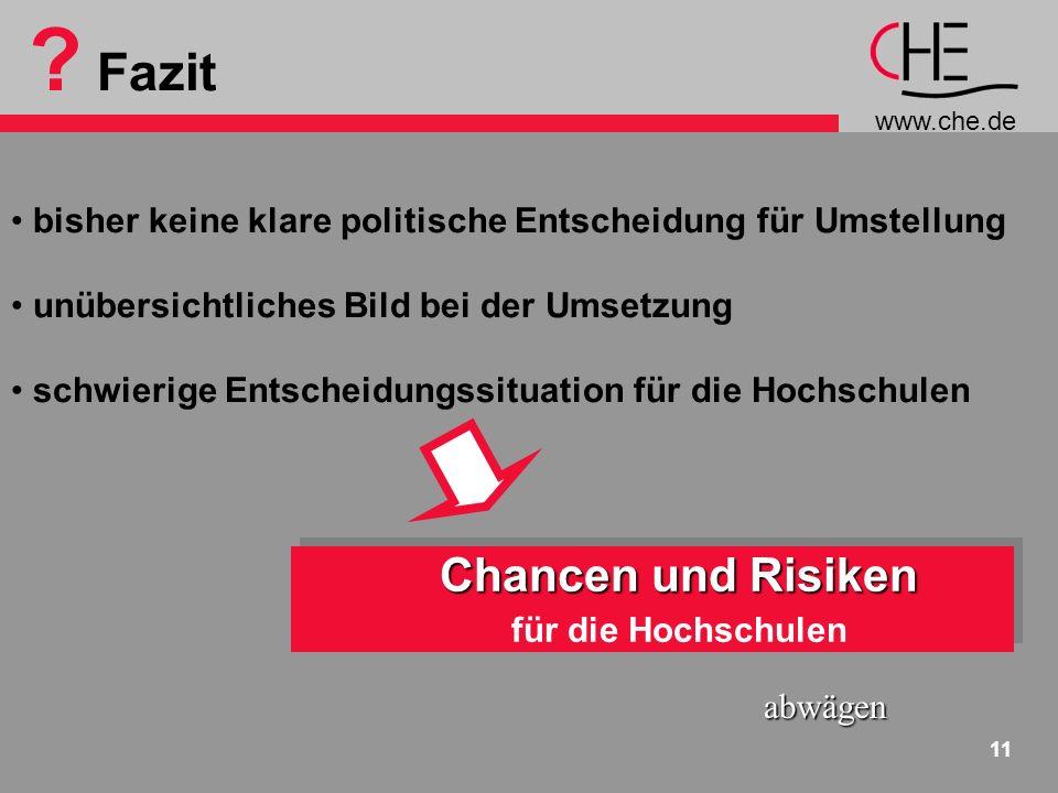 www.che.de 11 ? Fazit bisher keine klare politische Entscheidung für Umstellung unübersichtliches Bild bei der Umsetzung schwierige Entscheidungssitua