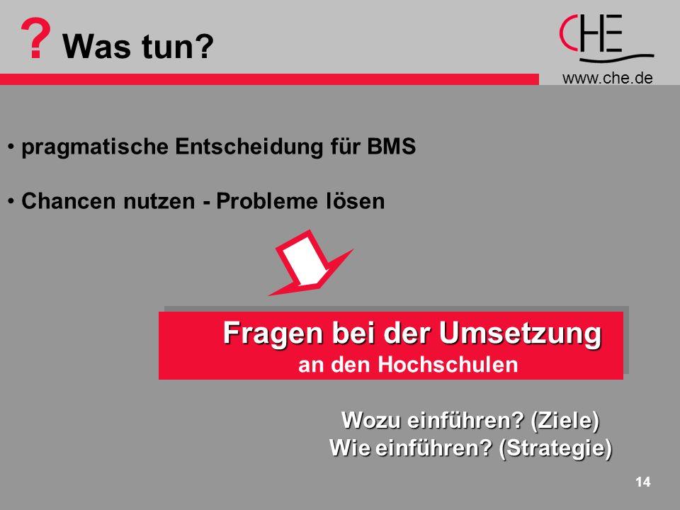 www.che.de 14 ? Was tun? pragmatische Entscheidung für BMS Chancen nutzen - Probleme lösen Fragen bei der Umsetzung an den Hochschulen Fragen bei der