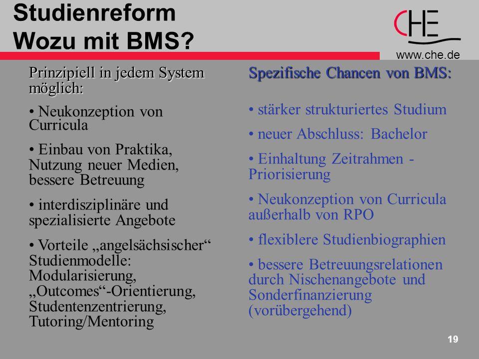 www.che.de 19 Studienreform Wozu mit BMS? Prinzipiell in jedem System möglich: Neukonzeption von Curricula Einbau von Praktika, Nutzung neuer Medien,