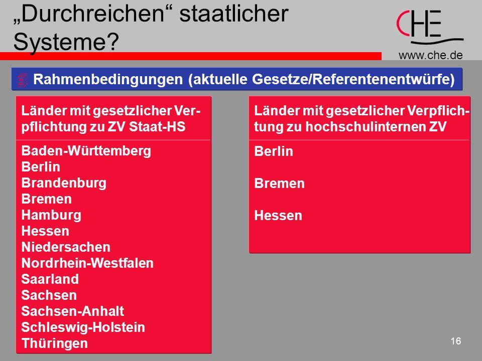 www.che.de 16 Durchreichen staatlicher Systeme? 4 Rahmenbedingungen (aktuelle Gesetze/Referentenentwürfe) Länder mit gesetzlicher Ver- pflichtung zu Z