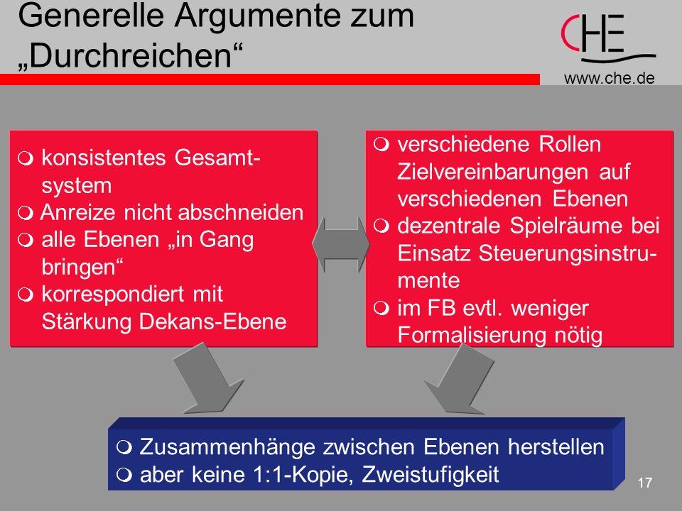 www.che.de 17 Generelle Argumente zum Durchreichen konsistentes Gesamt- system Anreize nicht abschneiden alle Ebenen in Gang bringen korrespondiert mi