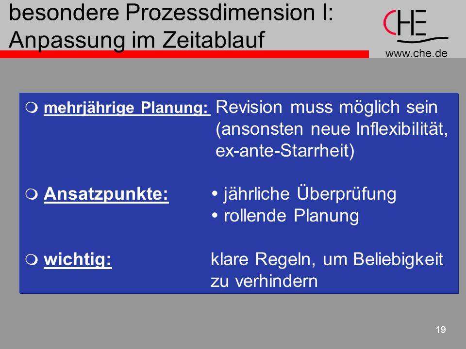 www.che.de 19 besondere Prozessdimension I: Anpassung im Zeitablauf mehrjährige Planung: Revision muss möglich sein (ansonsten neue Inflexibilität, ex