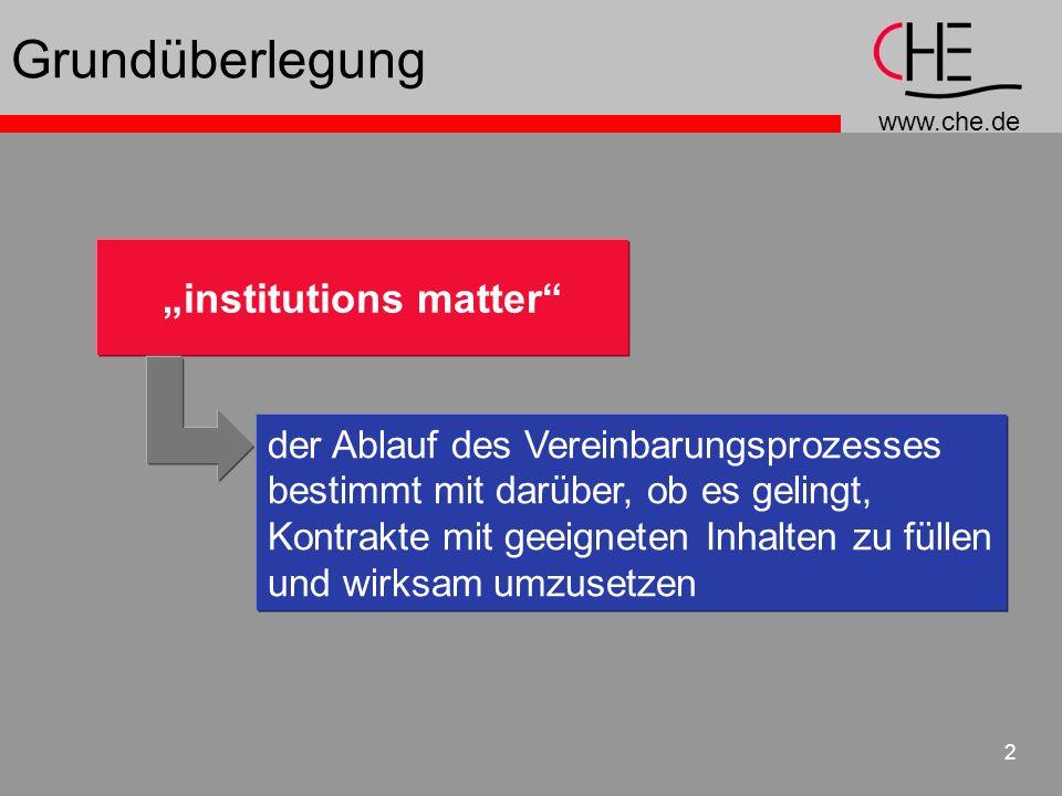 www.che.de 2 institutions matter der Ablauf des Vereinbarungsprozesses bestimmt mit darüber, ob es gelingt, Kontrakte mit geeigneten Inhalten zu fülle
