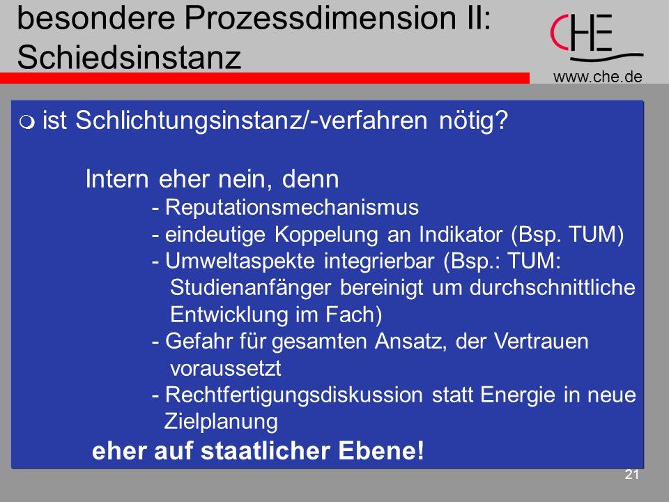 www.che.de 21 besondere Prozessdimension II: Schiedsinstanz ist Schlichtungsinstanz/-verfahren nötig? Intern eher nein, denn - Reputationsmechanismus