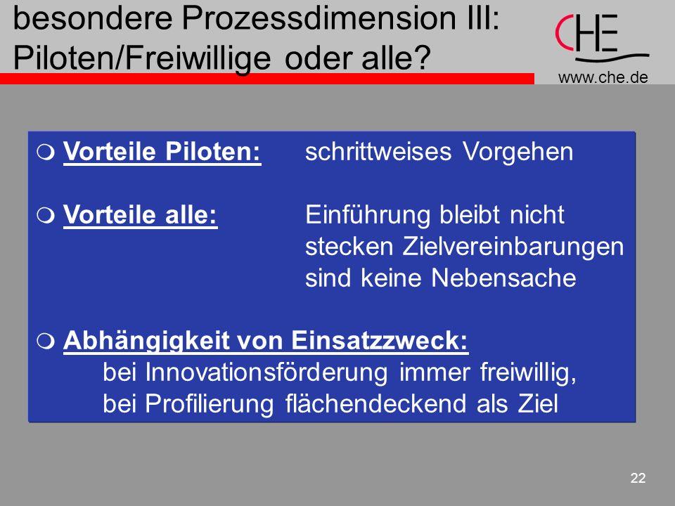 www.che.de 22 besondere Prozessdimension III: Piloten/Freiwillige oder alle? Vorteile Piloten: schrittweises Vorgehen Vorteile alle: Einführung bleibt