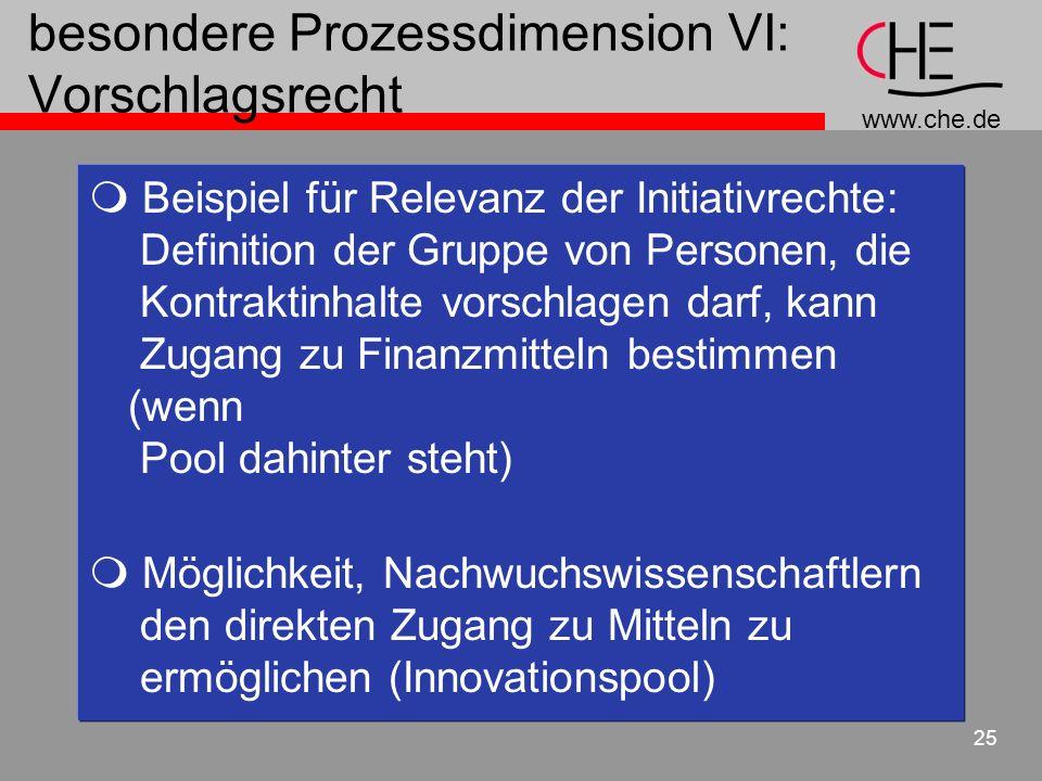 www.che.de 25 besondere Prozessdimension VI: Vorschlagsrecht Beispiel für Relevanz der Initiativrechte: Definition der Gruppe von Personen, die Kontra