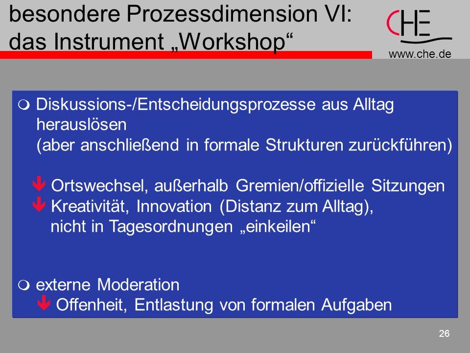 www.che.de 26 Diskussions-/Entscheidungsprozesse aus Alltag herauslösen (aber anschließend in formale Strukturen zurückführen) Ortswechsel, außerhalb