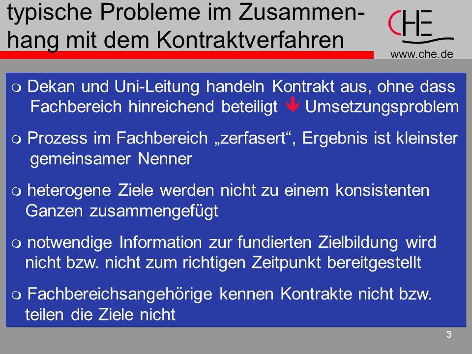 www.che.de 3 typische Probleme im Zusammen- hang mit dem Kontraktverfahren Dekan und Uni-Leitung handeln Kontrakt aus, ohne dass Fachbereich hinreiche